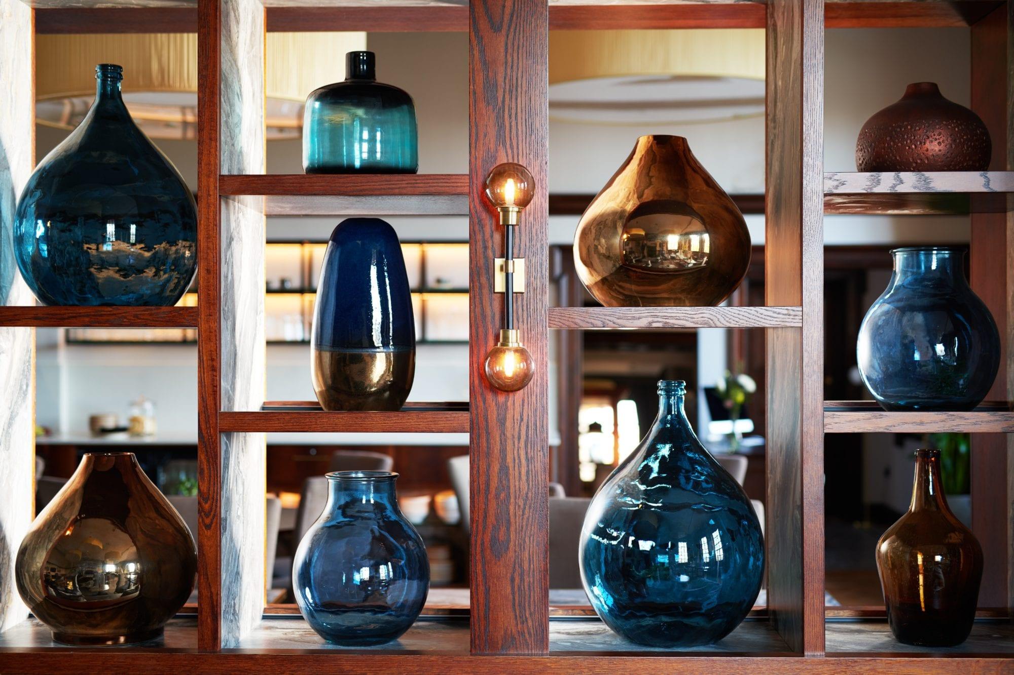 Detailed shot of vases in White Rose Lounge